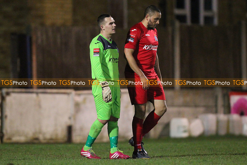 Despair for Jack Avery (L) and Aaron Scott of Redbridge - Aveley vs Redbridge - Ryman League Division One North Football at Mill Field, Aveley, Essex - 23/03/15 - MANDATORY CREDIT: TGSPHOTO - Self billing applies where appropriate - contact@tgsphoto.co.uk - NO UNPAID USE