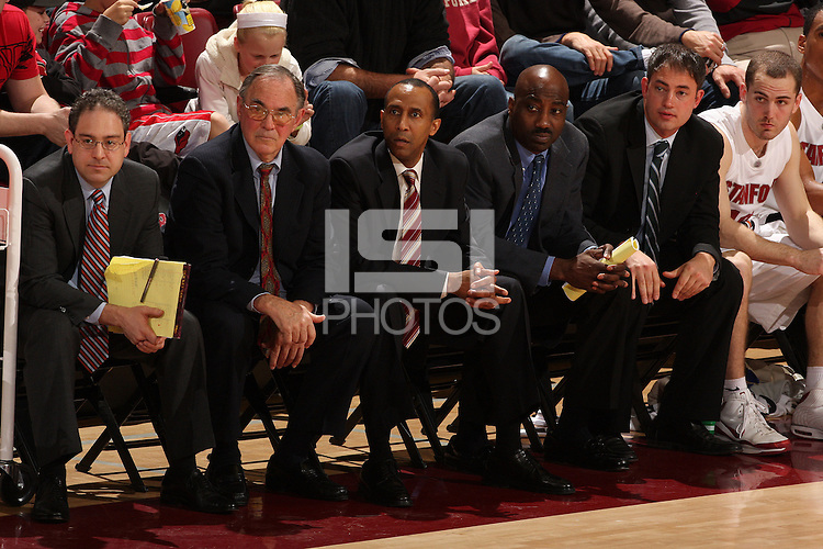STANFORD, CA - FEBRUARY 5:  (L-R) Director of basketball operations Jeff LaMere, associate head coach Dick Davey, head coach Johnny Dawkins, assistant coach Rodney Tention, and assistant coach Mike Schrage of the Stanford Cardinal during Stanford's 65-54 win against the Washington State Cougars on February 5, 2009 at Maples Pavilion in Stanford, California.