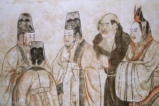 In this mural foreign ambassadors are being received at court. The two elegantly clad figures on the right are from Korea, the bare-headed, large-nosed figure in the centre is an envoy from the west. Mural from Li Xian's tomb on the wall of the Qianling Mausoleum, a Tang Dynasty (618–907) tomb site located in Qian County, Shaanxi province, China, and is 85 km (53 mi) northwest from Xi'an, formerly the Tang capital.