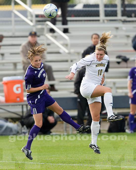 Michigan women's soccer vs. Northwestern in Ann Arbor on 10/4/09 (2-2 in 2OT).