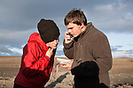 AKUREYRI, ICELAND AUGUST 2013:<br />Dangoor Next generation programme in north west Iceland, John Melvin (Adventure Leader) Claire Press (Social Leader) and Dean Marr contact the Main base camp with a satellite phone, which is part of the training, Aug 2013.<br />@Giulio Di Sturco