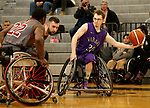 MARSHALL, MN - MARCH 17:  Dylan Fischbach #30 from the University Wisconsin Whitwater controls the ball against Alabama during their championship game at the 2018 National Intercollegiate Wheelchair Basketball Tournament at Southwest Minnesota State University in Marshall, MN. (Photo by Dave Eggen/Inertia)