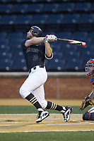 Johnny Aiello (2) of the Wake Forest Demon Deacons follows through on his swing against the Virginia Cavaliers at David F. Couch Ballpark on May 18, 2018 in  Winston-Salem, North Carolina.  The Cavaliers defeated the Demon Deacons 15-3.  (Brian Westerholt/Four Seam Images)