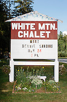 The sign for White Mountain Chalet advertises a campaign event for Vermont senator and Democratic presidential candidate Bernie Sanders in Berlin, New Hampshire.