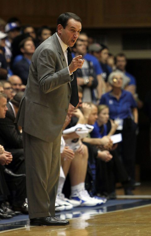 Duke head coach Mike Krzyzewski argues a call. Duke beat Presbyterian 96-55 on Saturday, November 12, 2011 at Cameron Indoor Stadium in Durham, NC. It was win number 902 for Duke head coach Mike Krzyzewski, tying him with Bob Knight for the NCAA Division I all-time win record. Photo by Al Drago.