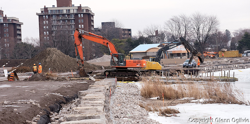 Work crews demolished the  former Centennial Park boat ramp to allow completion of the new seawall along the north shore of Sarnia Bay. Work on the park will continue throughout the winter. The project is expected to be completed by June 2.