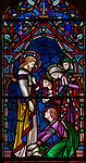 Victorian 19th century stained glass window, church of Bradfield Combust, Suffolk, England, UK - Jesus meeting disciples