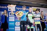 elite womens podium:<br /> 1/ Sophie De Boer (NLD)<br /> 2/ Helen Wyman (GBR/Kona)<br /> 3/ Jolien Verschueren (BEL/Decock Woningbouw)<br /> <br /> GP Mario De Clercq 2014<br /> Hotond Cross<br /> CX BPost Bank Trofee - Ronse