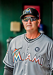 3 April 2017: Miami Marlins catching coach Brian Schneider walks the dugout prior to a game against the Washington Nationals on Opening Day at Nationals Park in Washington, DC. The Nationals defeated the Marlins 4-2 to open the 2017 MLB Season. Mandatory Credit: Ed Wolfstein Photo *** RAW (NEF) Image File Available ***