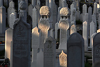 Tombs in the Alifacovac Cemetery, dating to before the Ottoman empire, in the Alifacovac district, one of the oldest parts of the city, Sarajevo, Bosnia and Herzegovina. Picture by Manuel Cohen