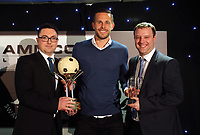 Pictured: Gylfi Sigurdsson (C) receives two awards by Chris Wathan and Gwilym of Wales Online Wednesday 18 May 2017<br /> Re: Swansea City FC, Player of the Year Awards at the Liberty Stadium, Wales, UK.