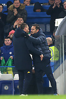 Chelsea Manager, Frank Lampard and Aston Villa Assistant Head Coach, John Terry embrace at the final whistle during Chelsea vs Aston Villa, Premier League Football at Stamford Bridge on 4th December 2019