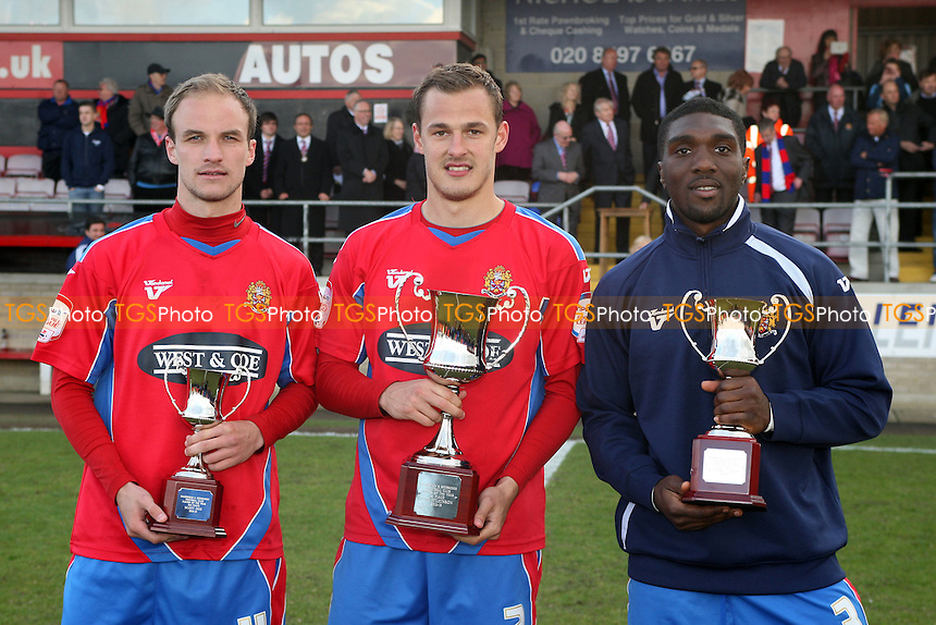 Daggers player of the year from left to right,  third place Scott Doe, winner Luke Wilkinson and second place Oluwafemi Ilesanmi - Dagenham and Redbridge vs York City at the London Borough of Barking and Dagnham Stadium - 27/04/13 - MANDATORY CREDIT: Dave Simpson/TGSPHOTO - Self billing applies where appropriate - 0845 094 6026 - contact@tgsphoto.co.uk - NO UNPAID USE.