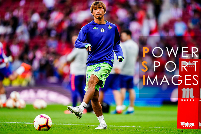 Takashi Inui of Real Betis warming up during the La Liga 2018-19 match between Atletico de Madrid and Real Betis at Wanda Metropolitano Stadium on October 07 2018 in Madrid, Spain. Photo by Diego Souto / Power Sport Images