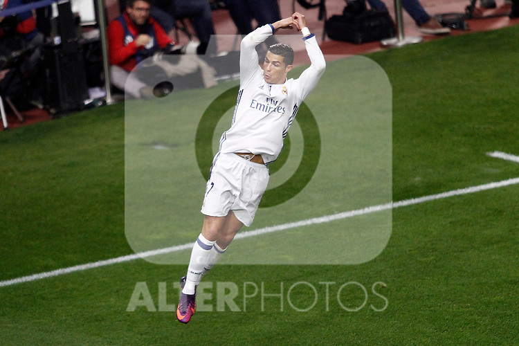 Real Madrid's Cristiano Ronaldo celebrates goal during La Liga match. November 19,2016. (ALTERPHOTOS/Acero)