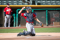 John Hicks (6) of the Tacoma Rainiers before the game against the Salt Lake Bees in Pacific Coast League action at Smith's Ballpark on May 7, 2015 in Salt Lake City, Utah.  The Bees defeated the Rainiers 11-4 in the completion of the game that was suspended due to weather on May 6, 2015.(Stephen Smith/Four Seam Images)