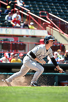 Akron RubberDucks second baseman Joe Wendle (7) at bat during a game against the Erie SeaWolves on May 18, 2014 at Jerry Uht Park in Erie, Pennsylvania.  Akron defeated Erie 2-1.  (Mike Janes/Four Seam Images)