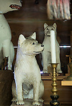 PHOTO shows hand-carved wooden Akita Inu, some of which date back centuries, on the sanctuary of Roken Jinja. a shrine  in Odate City, Akita Prefecture Japan. Photographer: Rob Gilhooly