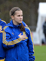 20150404 - FORST , GERMANY  : Ukrainian Viktoriia Holovach  pictured during the soccer match between Women Under 19 teams of Belgium and Ukraine , on the first matchday in group 5 of the UEFA Elite Round Women Under 19 at WaldseeStadion , Forst , Germany . Saturday 4th April 2015 . PHOTO DAVID CATRY