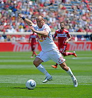New York midfielder Joel Lindpere (20) prepares to shoot.  The Chicago Fire tied the New York Red Bulls 1-1 at Toyota Park in Bridgeview, IL on June 26, 2011.