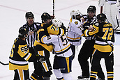8th June 2017, Pittsburgh, PA, USA; Pittsburgh Penguins center Evgeni Malkin (71) and Nashville Predators defenseman Roman Josi (59) scrum as Pittsburgh Penguins right wing Patric Hornqvist (72) and Nashville Predators defenseman P.K. Subban (76) are separated by an official during the third period. Game Five was won 6-0 by the Pittsburgh Penguins against the Nashville Predators during the 2017 NHL Stanley Cup Final on June 8, 2017, at PPG Paints Arena in Pittsburgh, PA. The Penguins take a 3-2 series lead in the best of seven series with the victory.