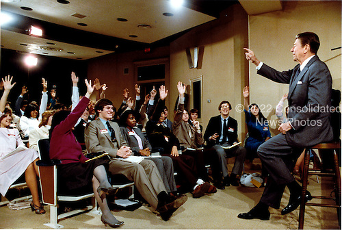 United States President Ronald Reagan answers questions from high school students from around the country during the taping of the Students and Leaders Program on Friday, February 25, 1983.  The program is sponsored by the Close-up Foundation and taped by C-Span, the cable public affairs network..Mandatory Credit: Jack Kightlinger - White House via CNP