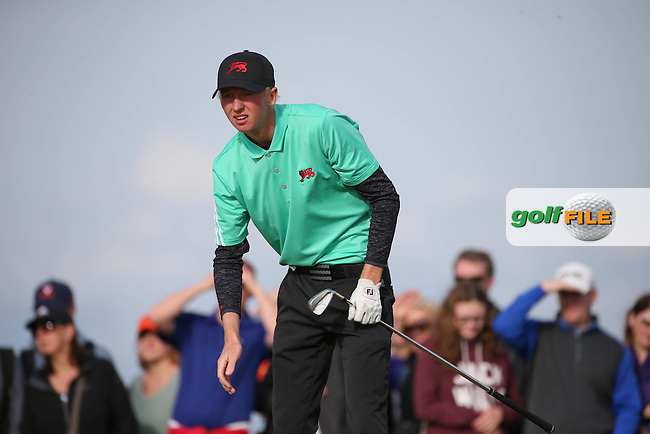 Jimmy Mullen (ENG) playing down the 15th during Sunday afternoon Singles matches of The Walker Cup 2015 played at Royal Lytham and St Anne's, Lytham St Anne's, Lancashire, England. 13/09/2015. Picture: Golffile | David Lloyd<br /> <br /> All photos usage must carry mandatory copyright credit (&copy; Golffile | David Lloyd)