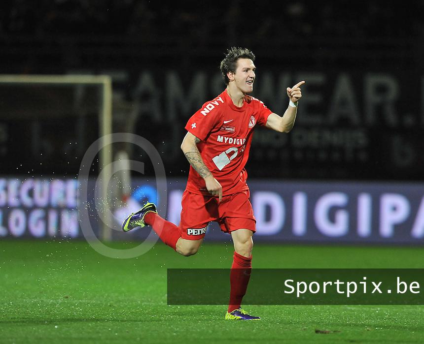 KV Kortrijk - KV Oostende : Benito Raman viert zijn doelpunt<br /> foto VDB / Bart Vandenbroucke
