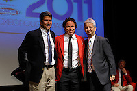 Ralph Perez, Hall of Fame inductee Cobi Jones, and US Soccer President Sunil Gulati during the 2011 National Soccer Hall of Fame induction ceremony in Foxborough, MA, on June 04, 2011.