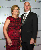 Deborah F. Rutter, president, John F. Kennedy Center for the Performing Arts, and her husband, Peter Ellefson, arrive for the formal Artist's Dinner honoring the recipients of the 41st Annual Kennedy Center Honors hosted by United States Deputy Secretary of State John J. Sullivan at the US Department of State in Washington, D.C. on Saturday, December 1, 2018. The 2018 honorees are: singer and actress Cher; composer and pianist Philip Glass; Country music entertainer Reba McEntire; and jazz saxophonist and composer Wayne Shorter. This year, the co-creators of Hamilton, writer and actor Lin-Manuel Miranda, director Thomas Kail, choreographer Andy Blankenbuehler, and music director Alex Lacamoire will receive a unique Kennedy Center Honors as trailblazing creators of a transformative work that defies category.<br /> CAP/MPI/RS<br /> &copy;RS/MPI/Capital Pictures