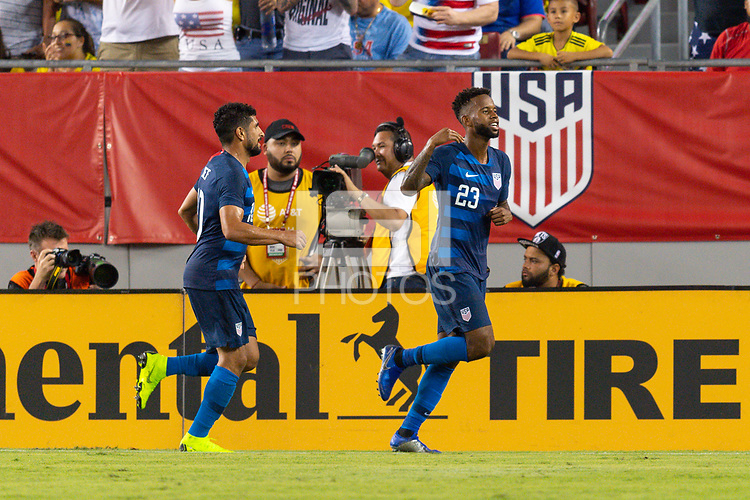 Tampa, FL - Thursday, October 11, 2018: Kellyn Acosta, Goal celebration during a USMNT match against Colombia.  Colombia defeated the USMNT 4-2.