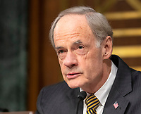 """United States Senator Tom Carper (Democrat of Delaware) makes an opening statement prior to hearing testimony before the United States Senate Committee on Homeland Security and Governmental Affairs Permanent Subcommittee on Investigations during a hearing on """"Examining Private Sector Data Breaches"""" on Capitol Hill in Washington, DC on Thursday, March 7, 2019.<br /> Credit: Ron Sachs / CNP/AdMedia"""