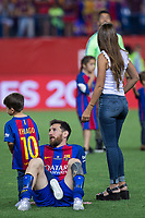 Leo Messi, Antonella Roccuzzo  and his son, Thiago Messi during the match of  Copa del Rey (King's Cup) Final between Deportivo Alaves and FC Barcelona at Vicente Calderon Stadium in Madrid, May 27, 2017. Spain.. (ALTERPHOTOS/Rodrigo Jimenez) /NortePhoto.com