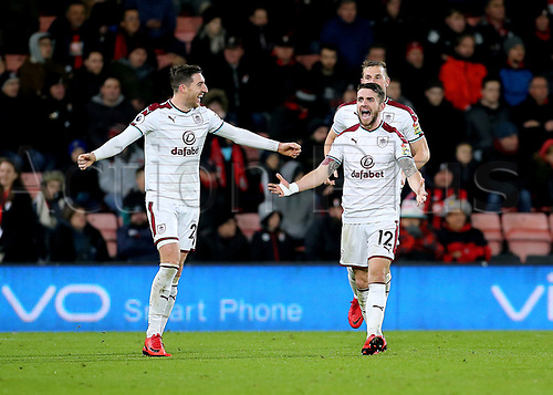 29th November 2017, Vitality Stadium, Bournemouth, England; EPL Premier League football, Bournemouth versus Burnley; Robbie Brady of Burnley celebrates scoring his sides second goal with Stephen Ward of Burnley, 0-2 Burnley