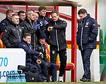31.3.2018: Motherwell v Rangers: <br /> Graeme Murty and the Rangers bench