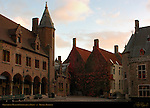 Gruuthuse Museum Courtyard at Dawn, Bruges, Brugge, Belgium