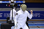 DURHAM, NC - FEBRUARY 26: Notre Dame's Ariel Simmons reacts after scoring a point in his semifinal Men's Epee contest. The Atlantic Coast Conference Fencing Championships were held on February, 26, 2017, at Cameron Indoor Stadium in Durham, NC.