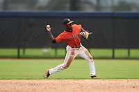 GCL Astros second baseman Dexter Jordan (12) throws to first base during a Gulf Coast League game against the GCL Mets on August 10, 2019 at FITTEAM Ballpark of the Palm Beaches Training Complex in Palm Beach, Florida.  GCL Astros defeated the GCL Mets 8-6.  (Mike Janes/Four Seam Images)