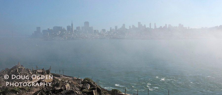 San Francisco through the fog from Alcatraz Island