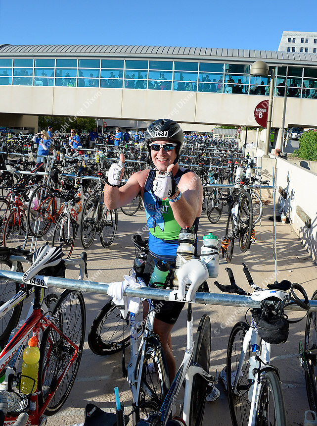 Chicago's Matt Wood gives the thumbs up before starting the bike leg of the Wisconsin Ironman on Sunday in Madison