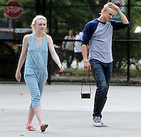 NEW YORK CITY- July 03, 2012: Dakota Fanning and Boyd Holbrook shooting on location for the new film, Very Good Girls. &copy; RW/MediaPunch Inc. *NORTEPHOTO*<br />