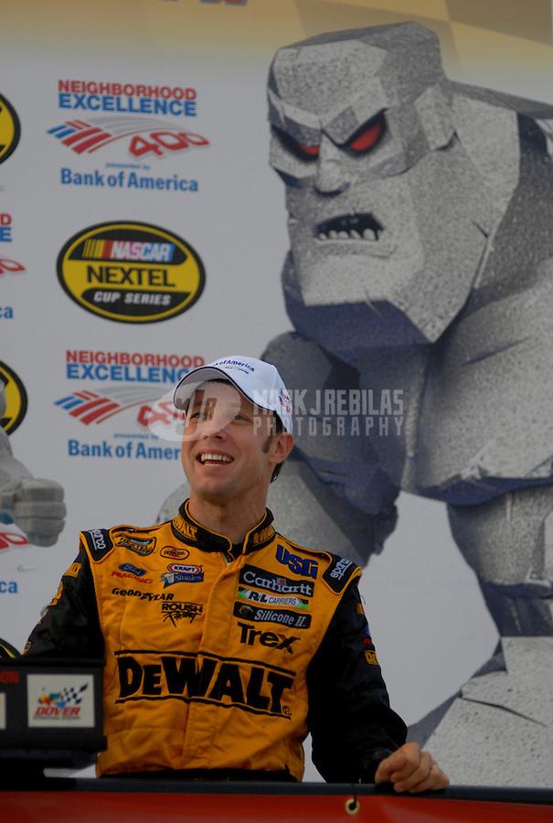 June 4, 2006; Dover, DE, USA; Nascar Nextel Cup driver Matt Kenseth (17) celebrates after winning the Neighborhood Excellence 400 at Dover International Speedway. Mandatory Credit: Mark J. Rebilas.