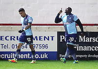 Adebayo Akinfenwa of Wycombe Wanderers celebrates scoring his second goal <br /> during the Sky Bet League 2 match between Accrington Stanley and Wycombe Wanderers at the wham stadium, Accrington, England on 28 February 2017. Photo by Tony  KIPAX.