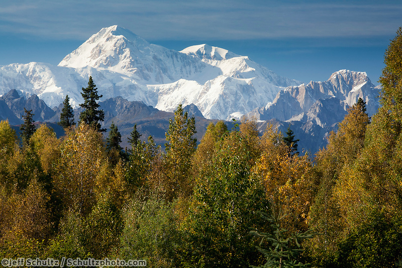 """Scenic Southside View Of Mt. Mckinley And The Alaska Range Near The George Parks Highway, Denali State Park, Southcentral Alaska, Autumn"""