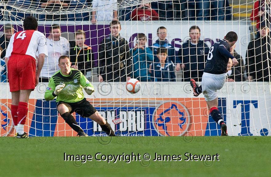 30/10/2010   Copyright  Pic : James Stewart.sct_jsp019_falkirk_v_dundee  .:: MARK MILLER SCORES FALKIRK'S THIRD FROM THE SPOT :: .James Stewart Photography 19 Carronlea Drive, Falkirk. FK2 8DN      Vat Reg No. 607 6932 25.Telephone      : +44 (0)1324 570291 .Mobile              : +44 (0)7721 416997.E-mail  :  jim@jspa.co.uk.If you require further information then contact Jim Stewart on any of the numbers above.........