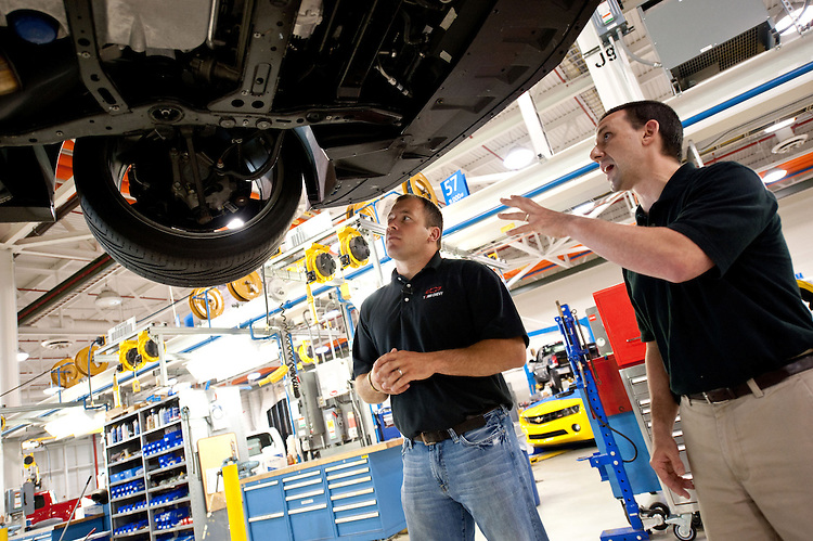 NASCAR Team Chevrolet driver Ryan Newman (left) - who has an Engineering degree from Purdue University - tours the engineering and vehicle development areas of the General Motors Milford Proving Ground with GM Lead Development Engineer Mike Petrucci Thursday, June 16, 2011 in Milford, Michigan. Newman spent the afternoon talking to engineers and test-driving a Chevrolet Camaro ZL1 development vehicle. Newman hopes to win his third NASCAR Sprint Cup race at Michigan International Speedway in Brooklyn, Michigan on Sunday in his U.S. Army/Bud Moore Chevy for Stewart-Haas Racing. (Photo by Steve Fecht for Chevrolet Racing)