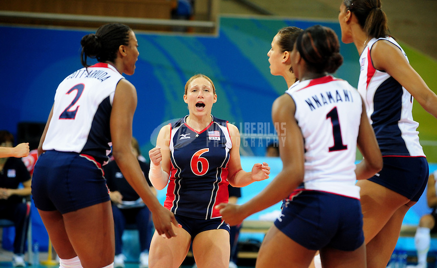 Aug. 17, 2008; Beijing, CHINA; USA player Nicole Davis (6) celebrates a point against Poland during womens volleyball pool play match at the Capital Gymnasium during the 2008 Beijing Olympic Games. Mandatory Credit: Mark J. Rebilas-