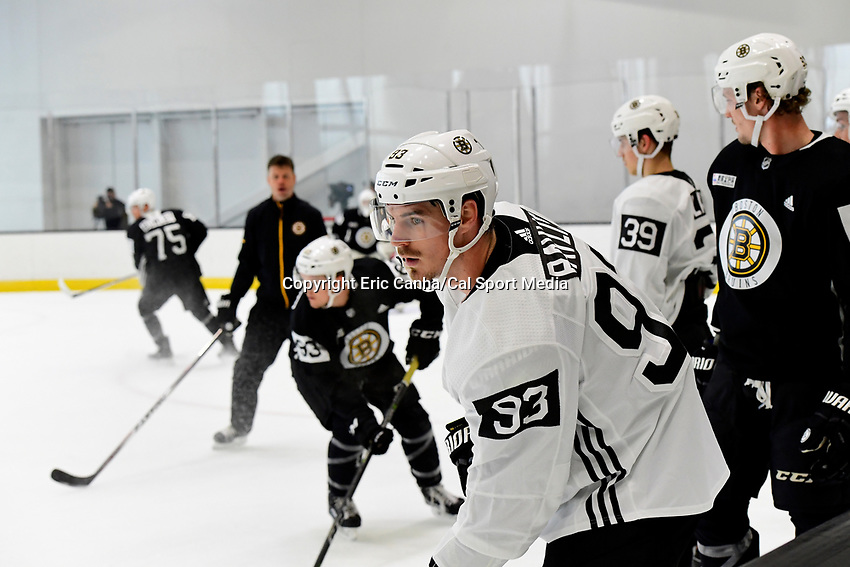 June 28, 2018: Boston Bruins forward Stephen Baylis (93) waits to skate in a drill during the Boston Bruins development camp held at Warrior Ice Arena in Brighton Mass. Eric Canha/CSM