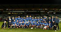 The French Barbarians pose for a group photo at the rugby match between the Highlanders and the French Barbarians at Rugby Park in Invercargill, New Zealand on Friday, 22 June 2018. Copyright Image: Joe Allison / lintottphoto.co.nz