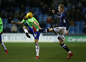 9th February 2018, The Den, London, England; EFL Championship football, Millwall versus Cardiff City; George Saville of Millwall puts pressure on Callum Paterson of Cardiff City